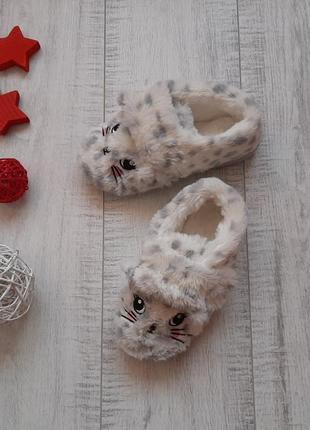 Меховые тапочки-котики с ушками 12 р