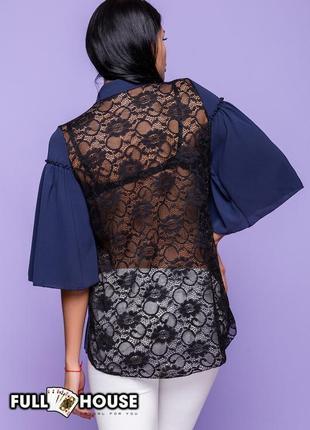 Блуза с кружевной спинкой, нарядная и эротичная, шифон, кружево, из италии