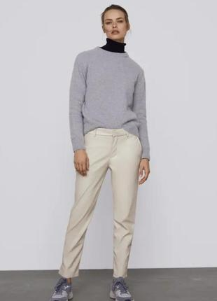 Кожаные белые штаны от zara, 34, 36, 38, 40р, оригинал, испания