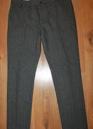 Мужские зауженные серые шерстяные брюки елочка next skinny fit 34\31