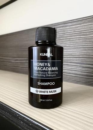 Корейский шампунь kundal, honey & macadamia shampoo white musk,100 ml