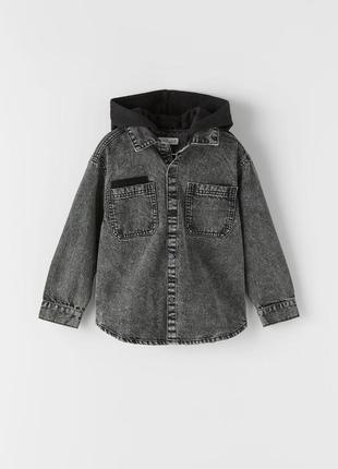 Джинсовая рубашка пиджак zara