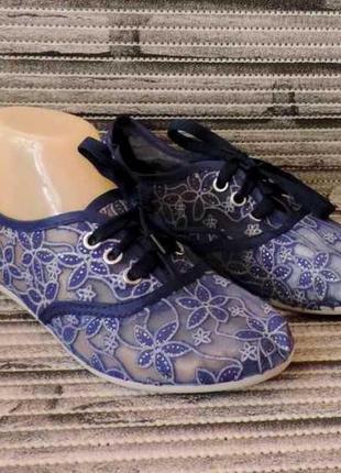Ажурные женские балетки, мокасины сетка на шнурках. летняя женская обувь. синие