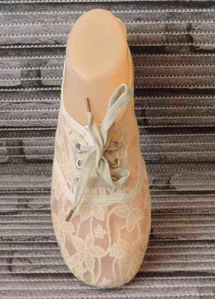 Гипюровые женские балетки, мокасины сетка на шнурках. летняя женская обувь. бежевые