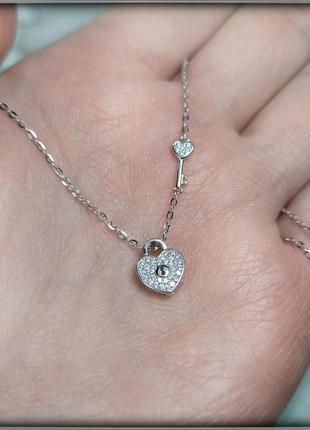 Підвіска срібна з ланцюжком серце замок чокер подвеска замочек серебро 925