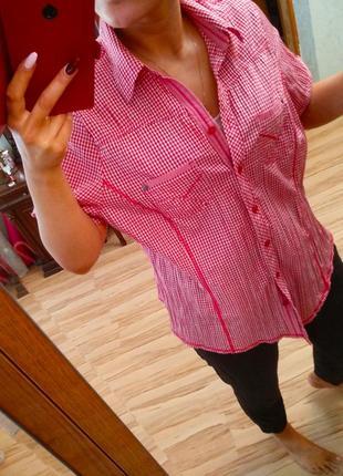 Новая натуральная стильная рубашка блуза в клетку, размер 54_56