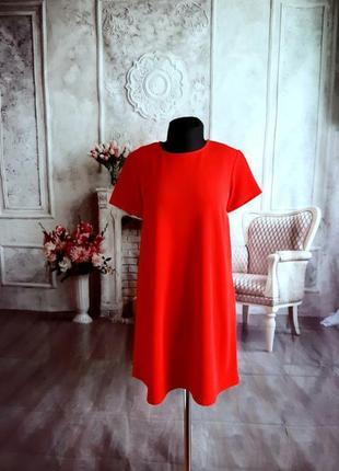 Стильное платье трапеция красное