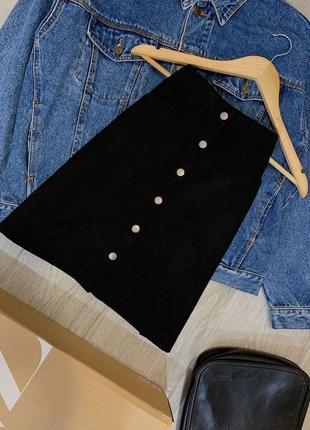 Базовая юбка трапеция из замши