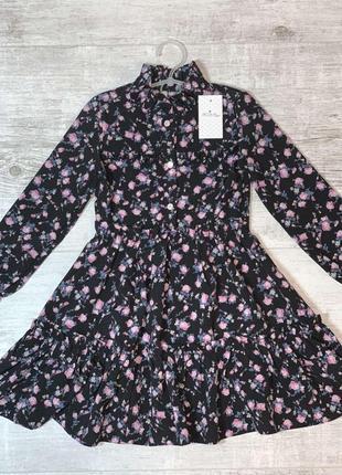 Платье в принт цветы шифон
