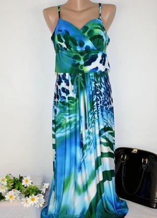 Брендовое яркое нарядное макси платье сарафан kaleidoscope принт абстракция этикетка