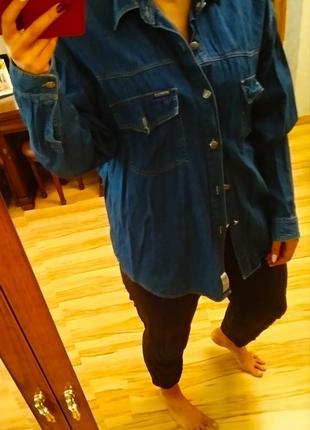 Стильная брендовая джинсовая рубашка куртка унисекс, размер xxl