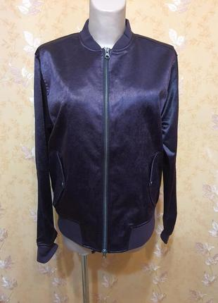 Куртка бомбер с манжетами атласная бордо