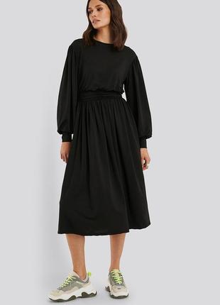 🌿 удобное, черное миди платье от na-kd