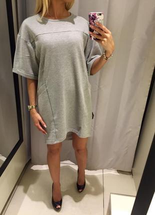 Серое платье свободного кроя с карманами. reserved. размеры хс и с.
