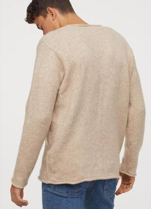 Мужской джемпер тонкий вязаный свитер бежевого цвета от h&m l 175/105