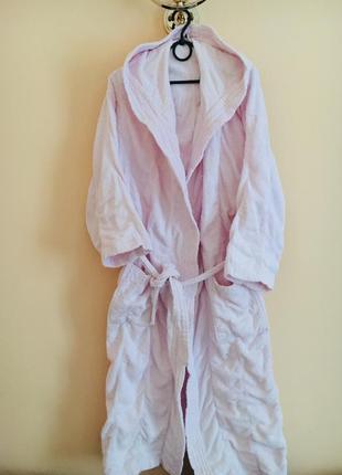 Батал большой размер махровый банный тёплый халат халатик розовый