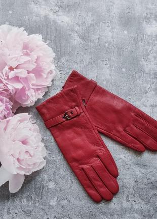 Новые  кожаные перчатки утеплены красные sanli