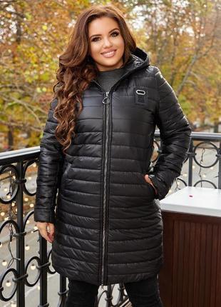 Демисезон удлиненная распродажа куртка женская с капюшоном пальто батал большого размера