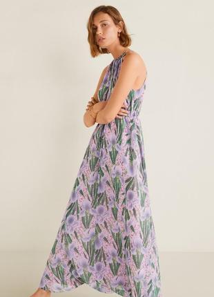 Длинное летнее шифоновое платье mango.