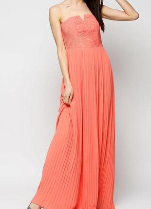 Длинное вечернее плиссированное платье mango.