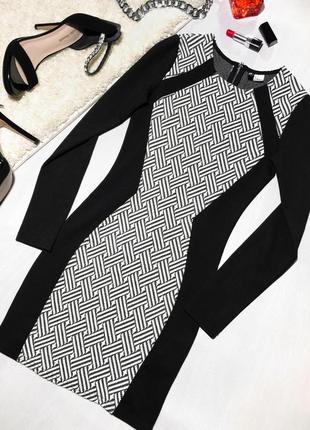 Платье по фигуре черно-белое с длинным рукавом