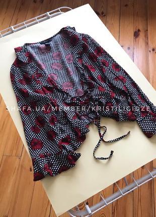 Шикарная накидка блуза в цветочки на завязках р.l. распродажа 50