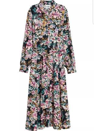 Очень красивое платье рубашка миди h&m в цветочный принт.