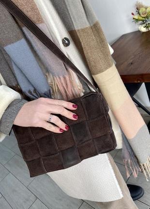 Женская сумка боттега италия натуральная замша