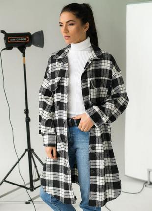 Длинная  теплая женская рубашка в клеточку