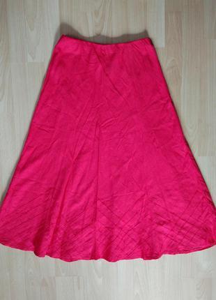 Шикарная льняная юбка ярко розового цвета #first_avenue