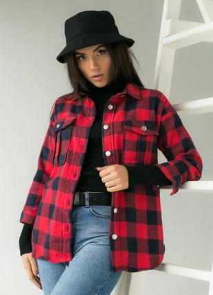 Стильная  теплая рубашка с красивыми карманами