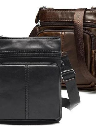 Мужская кожаная сумка через плечо черная «хит 2021»
