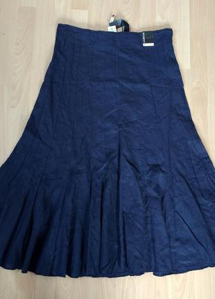 Льняная юбка-макси темно-синего цвета