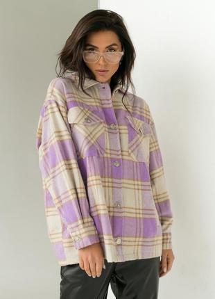 Теплая рубашка из пальтовой ткани в клетку -
