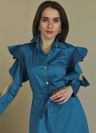 Сукня жіноча котонова. плаття з рюшами