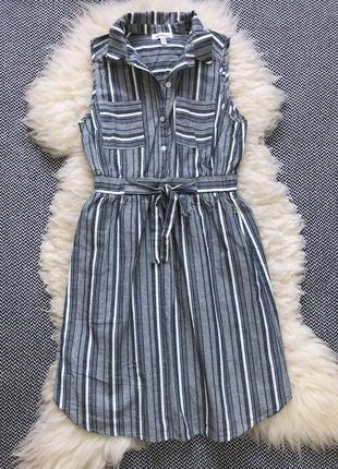 Льняное платье миди monteau натуральное хлопок в полоску сарафан пояс ремень