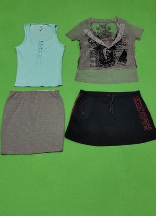 Спортивная одежда костюм набор вещей для отдыха прогулок casual юбка майка футболка