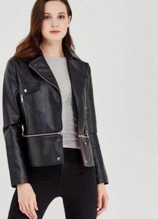 Черная красная куртка косуха кожанка эко кожа xs s m befree
