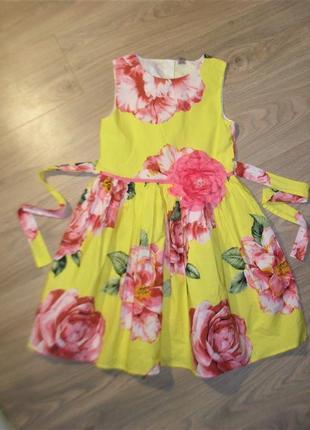 Солнечное нарядное платье на 11лет рост 146