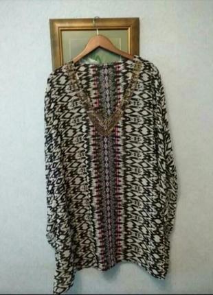 Пляжная блуза накидка шифоновая