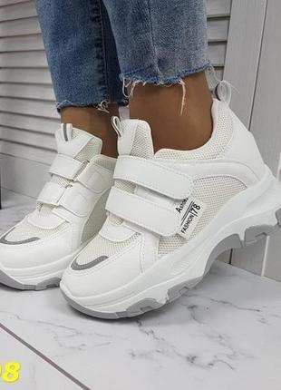 Белые кроссовки, 34-38.кроссовки танкетка платформа,кроссовки на липучках,сникерсы белые