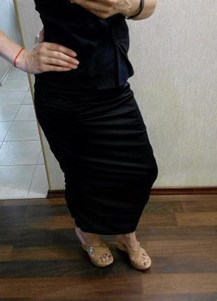 Трикотажная платье-юбка с драпировкой в боковых швах