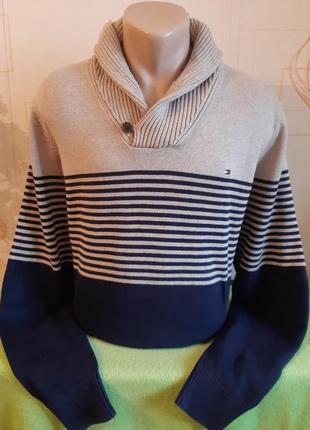 Стильный свитер с хомутовым воротом на пуговице tommy hilfiger, 💯 оригинал