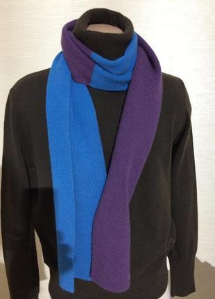 Шарф шерстяной толстый фиолетовый с синим. длина 186 ширина 25 см.