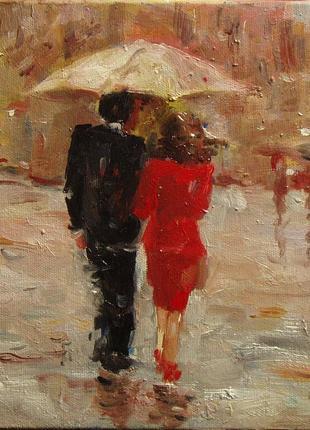 Картина двое под зонтом, живопись