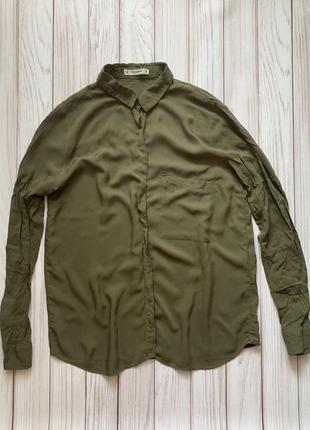 Рубашка блузка зелёная хаки