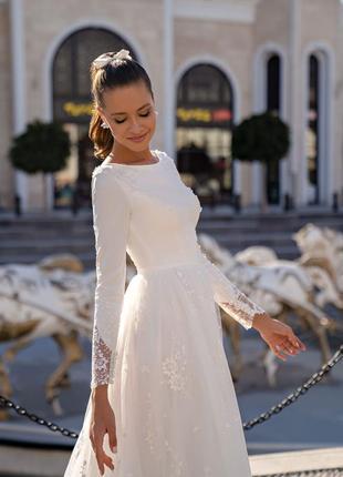 Свадебное платье 2021 с длинными рукавами