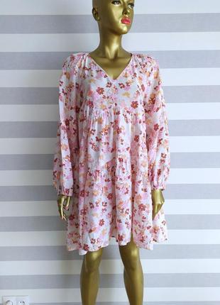 Крутое платье оверсайз в цветочный принт h&m новых коллекций