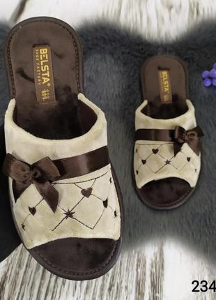 Женские комнатные тапочки белста с открытым носком, велюровые, кофейного цвета