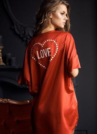 Халат кимоно victoria's secret flutter-sleeve satin kimono love